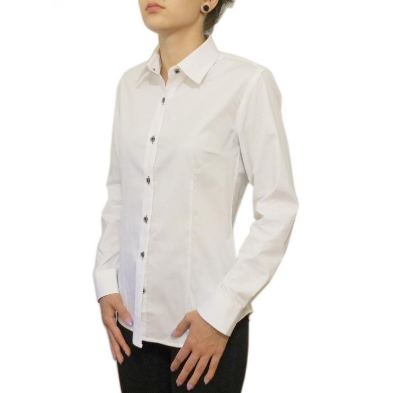 a8015de731 ... Biała koszula damska SLIM długi rękaw LAVIINO ...