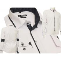 Elegancka koszula męska SLIM biała z łatami