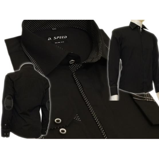 f4e1ef28fa2bb4 Elegancka czarna koszula męska SLIM z łatami i krytą plisą