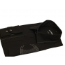Elegancka czarna koszula męska SLIM z łatami i krytą plisą