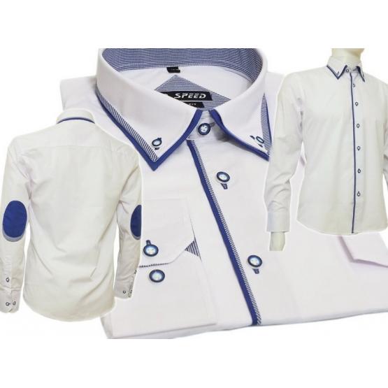 Modna koszula męska SLIM biała z niebieskimi łatami