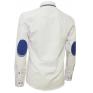 Modna koszula męska SLIM FIT biała z niebieskimi łatami