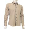 Modna koszula męska SLIM FIT beżowa rekawy z łatami kołnierzyk button down.