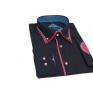 Modna koszula męska SLIM FIT granatowa rekawy z łatami czerwone wykończenia