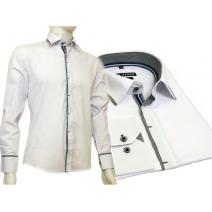 Biała koszula męska kryta plisa krój SLIM FIT kolorowe wykończenia