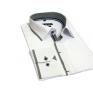 Biała koszula męska kryta plisa krój SLIM marka D. Seed