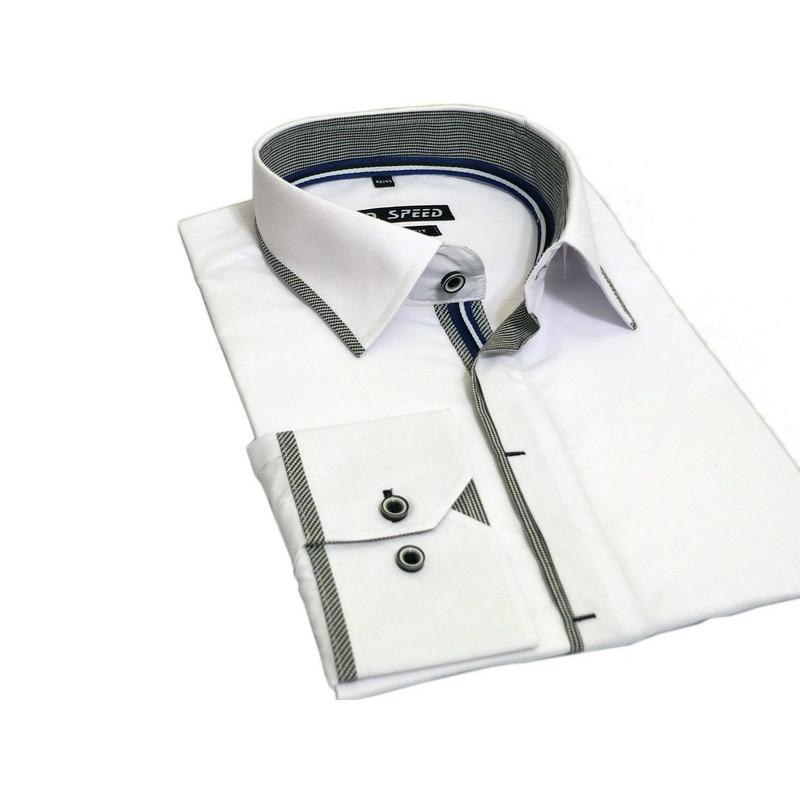 357c550cdd7788 ... Biała koszula męska kryta plisa krój SLIM marka D. Seed ...