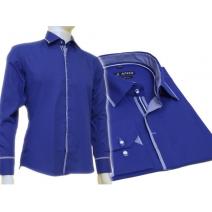 Chabrowa koszula męska kryta plisa krój SLIM FIT