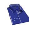 Chabrowa koszula męska kryta plisa krój SLIM FIT kolorowe wykończenia kołnierzyka