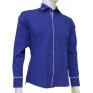 Chabrowa koszula męska kryta plisa krój SLIM FIT wykończenia w krateczkę