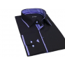 Granatowa koszula męska kryta plisa krój SLIM FIT klasyczny kołnierzyk
