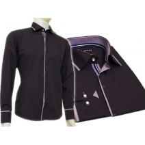 Fioletowa śliwkowa koszula męska kryta plisa krój SLIM
