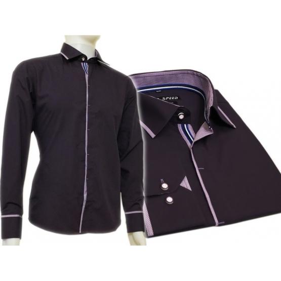 Fioletowa śliwkowa koszula męska kryta plisa krój SLIM FIT
