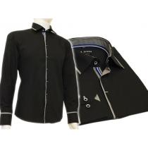 Czarna koszula męska kryta plisa krój SLIM FIT