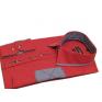 Elegancka koszula męska SLIM FIT w kropki czerwona niebieskie łaty
