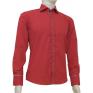 Elegancka koszula męska SLIM FIT w kropki czerwona łaty na rękawach