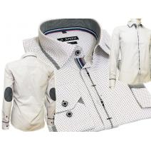 Elegancka koszula męska SLIM FIT w kropki biała łaty