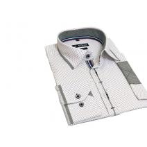 Elegancka koszula męska SLIM FIT w kropki biała ozdobne łaty