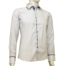 Elegancka koszula męska casual krój SLIM FIT w kropki biała łaty