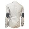 Elegancka koszula męska SLIM FIT w kropki biała z ozdobnymi łatami