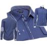 Elegancka koszula męska SLIM FIT w kropki niebieska łaty