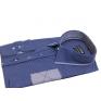 Elegancka koszula męska SLIM FIT w kropki niebieska ozdobne łaty
