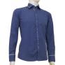 Elegancka koszula męska SLIM FIT w kropki niebieska łaty na rękawach