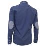 Elegancka, niebieska koszula męska SLIM FIT w kropki z ozdobnymi łatami