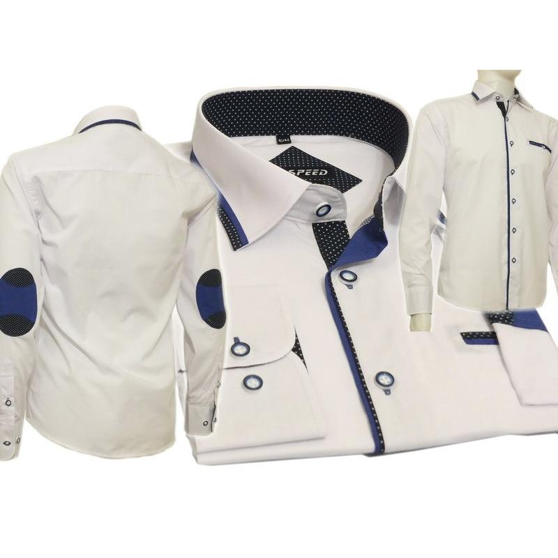 Biała koszula męska SLIM niebieskie łaty  ck1sl