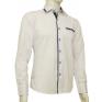 Koszula męska SLIM biała z niebieskimi łatami