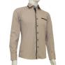 Koszula męska SLIM FIT beżowa rekawy z łatami