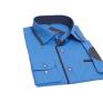 Koszula męska SLIM FIT turkusowa rekawy z łatami
