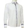 Koszula męska SLIM FIT biała  z kolorowymi wykończeniami