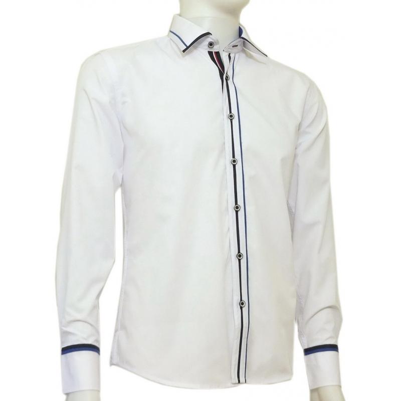 6a0f7c7dede0b2 Modna koszula męska SLIM FIT rękawy kolor biały kolorowe wykończenia