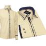 Koszula męska SLIM FIT kremowa  z kolorowymi wykończeniami