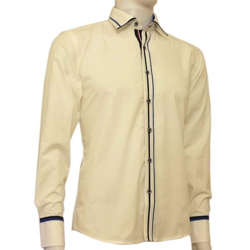Modna koszula męska SLIM FIT rękawy kolor kremowy kolorowe