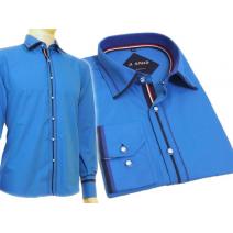Koszula męska SLIM FIT turkusowa z kolorowymi wykończeniami