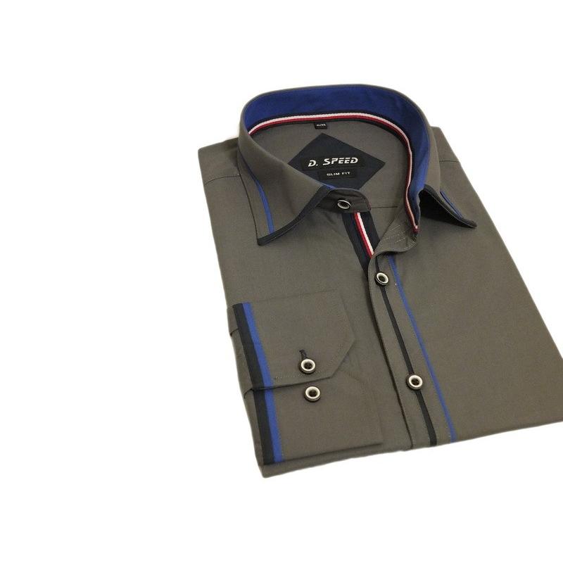Modna koszula męska SLIM FIT rękawy kolor grafit kolorowe