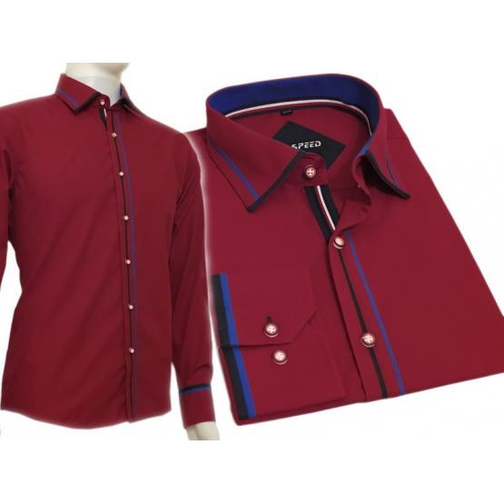 Koszula męska SLIM FIT ciemnoczerwona z kolorowymi wykończeniami