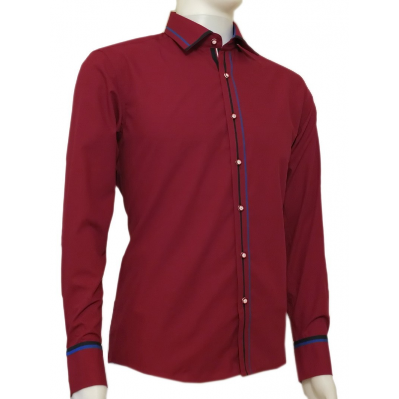 Modna koszula męska SLIM FIT rękawy kolor ciemnoczerwona