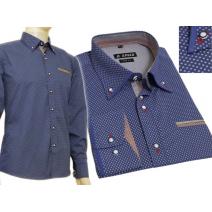 Modna koszula męska SLIM chabrowa w jasny wzorek