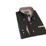 Modna koszula męska SLIM czarna w niebieski wzorek