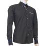 Modna koszula męska SLIM granatowa w jasny wzorek