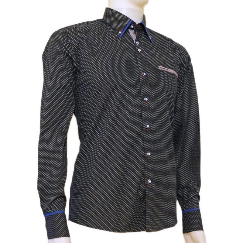 Granatowa koszula męska SLIM w jasny wzorek  5MVrD