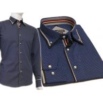 Elegancka koszula męska niebieska szafirowa w kropki kolorowe wykończenia