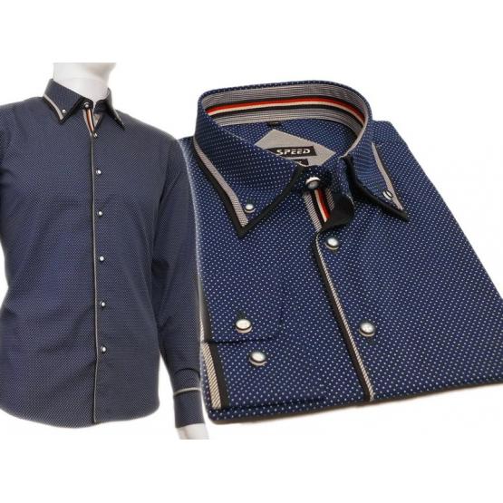 193c55484567a1 Elegancka koszula męska niebieska szafirowa w kropki kolorowe wykończenia