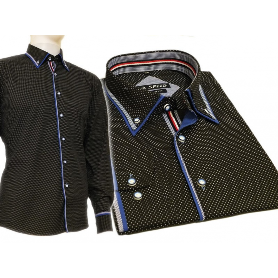 Elegancka koszula męska czarna w kropki kolorowe wykończenia