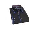 Elegancka koszula męska granatowa w kropki kolorowe wykończenia