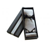 Komplet krawat poszetka i spinki srebrny popielaty