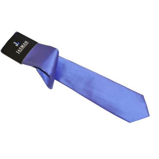 Wąski modny krawat jasno NIEBIESKI indygo z poszetką